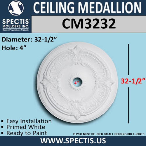"CM3232 Decorative Round Ceiling Medallion 4"" Hole x 32.5"""