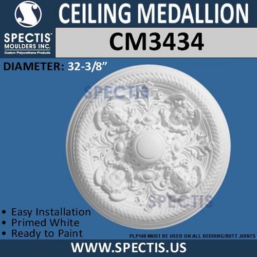 "CM3434 Cherub Face Ceiling Medallion 32 3/8"" Round"