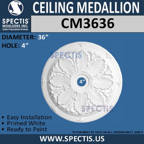 CM3636 Decorative Leaf Pattern Ceiling Medallion 36""