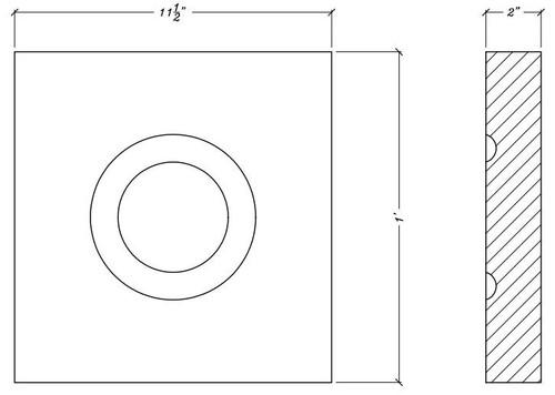 """CR107 11 1/2"""" x 12"""" Square Decorative Rosette"""
