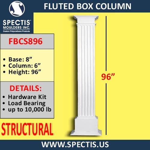 "FBCS896 Structural Fluted Box Column 8"" x 96"""