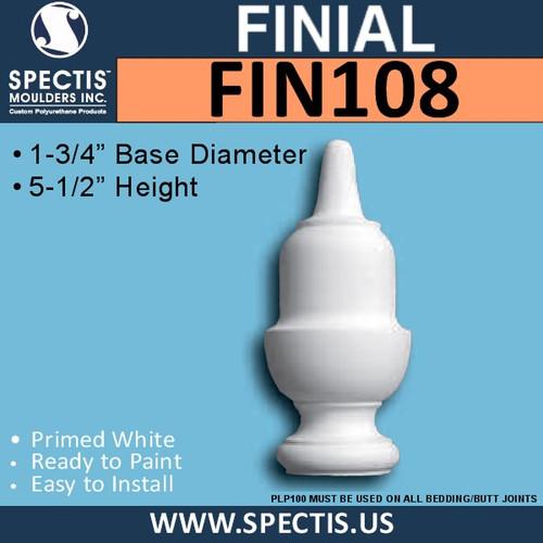 """FIN108 Urethane Finial 2 1/2"""" x 5 1/2"""""""