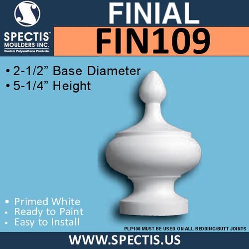 """FIN109 Urethane Finial Urn 2 1/2"""" Base x 5 1/4""""H"""