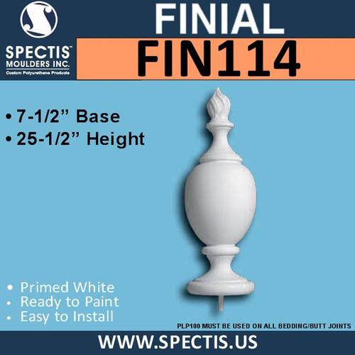 "FIN114 Flame Top Urethane Finial 8 3/4"" x 25 1/2"""