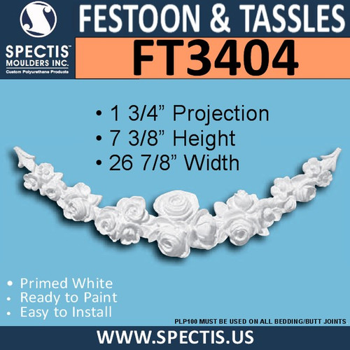 "FT3404 26 7/8"" x 7 3/8"" Groups of Roses Urethane Festoon"