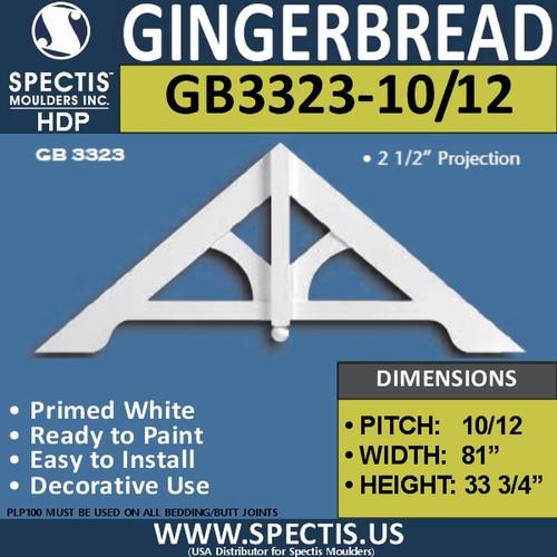 "GB3323-10-12 Gingerbread Gable Trim 81""W x 33 3/4""H"