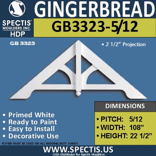 "GB3323-5-12 Gingerbread Gable Trim 107-3/8""W x 22-1/2""H"
