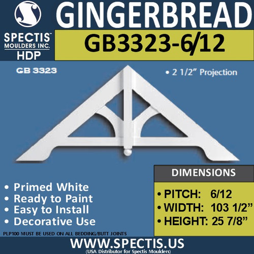 "GB3323-6-12 Gingerbread Gable Trim 103 1/2""W x 25 7/8""H"