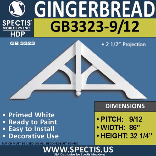 "GB3323-9-12 Gingerbread Gable Trim 86""W x 32 1/2""H"
