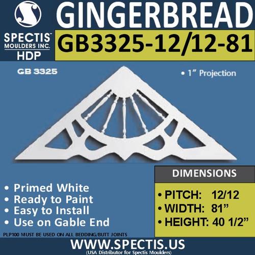 "GB3325-12-12-81 Gingerbread Gable Trim 81""W X 40 1/2""H"
