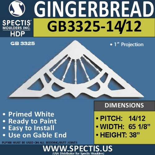 "GB3325-14-12 Gingerbread Gable Trim 65 1/8""W X 38""H"