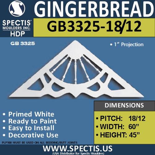 "GB3325-18-12 Gingerbread Gable Trim 60""W x 45""H"
