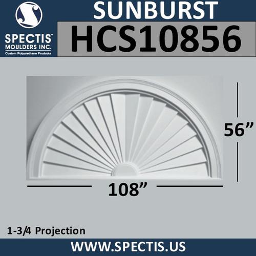 HCS10856 Half Cirlce Urethane Sunburst 108 x 56