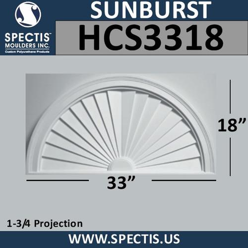 HCS3318 Half Circle Urethane Sunburst 33 x 18
