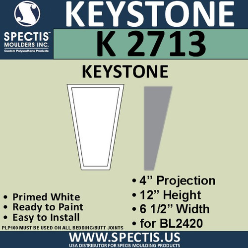 """K2713 Spectis Urethane Keystone 4""""P X 12""""H X 6 1/2""""W"""