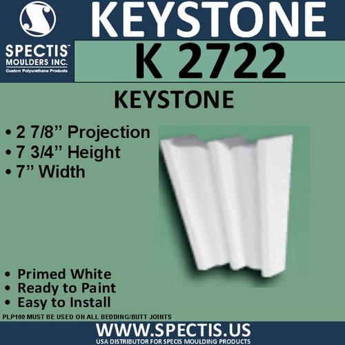 """K2722 Spectis Urethane Keystone 2 7/8""""P X 7 3/4""""H X 7""""W"""