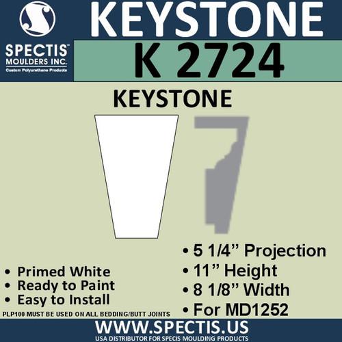 """K2724 Spectis Urethane Keystone 5 1/4""""P X 11""""H X 8 1/8""""W"""