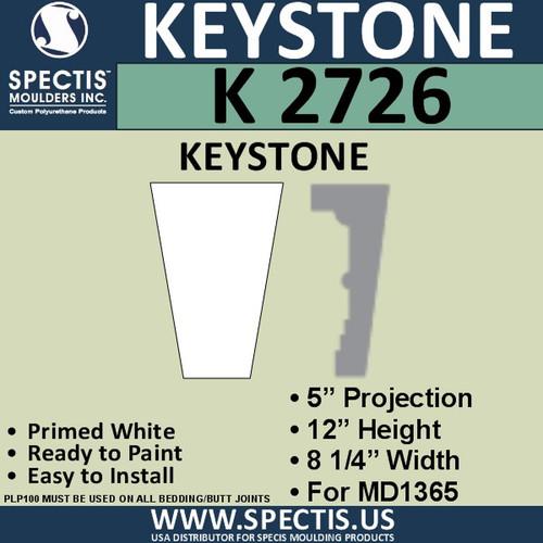 """K2726 Spectis Urethane Keystone 5""""P X 12""""H X 8 1/4""""W"""