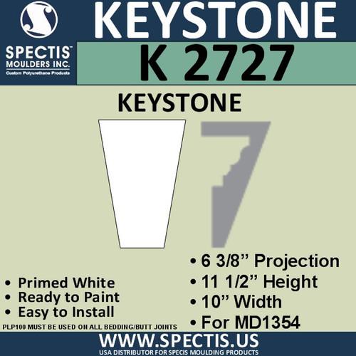 """K2727 Spectis Urethane Keystone 6 3/8""""P X 11 1/2""""H X 10""""W"""