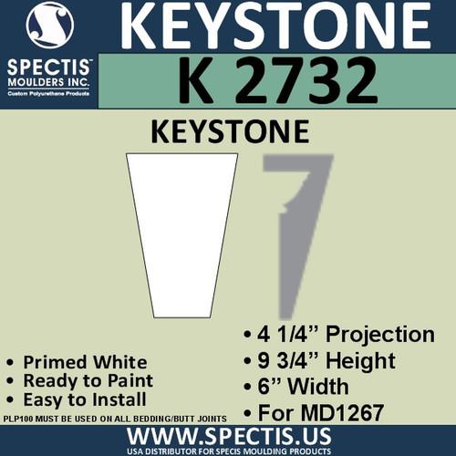 """K2732 Spectis Urethane Keystone 4 1/4""""P X 9 3/4""""H X 6""""W"""