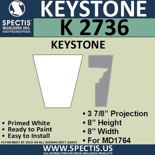 """K2736 Spectis Urethane Keystone 8"""" X 8"""" X 3 7/8"""""""