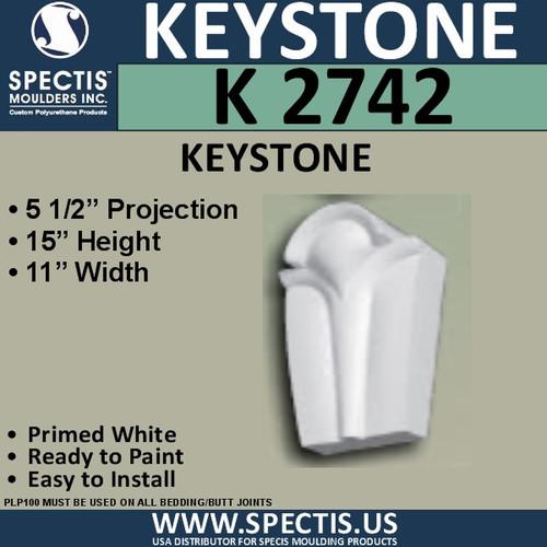 """K2742 Spectis Urethane Keystone 5 1/2""""P X 11""""W X 15""""H"""