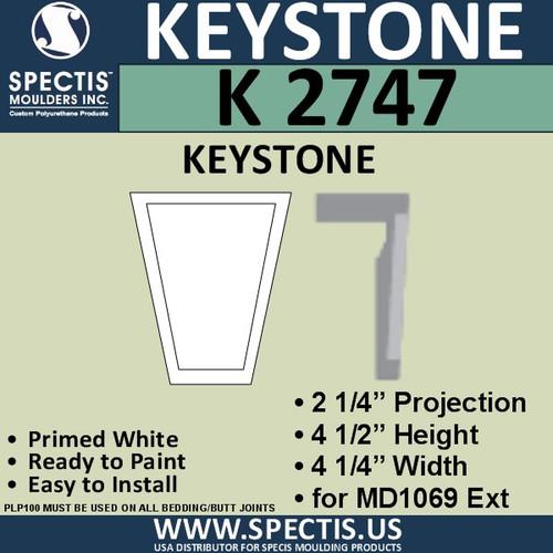 """K2747 Spectis Urethane Keystone 2 1/4""""P X 4 1/2""""H X 4 1/4""""W"""