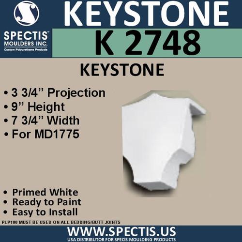 """K2748 Spectis Urethane Keystone 3 3/4""""P X 9""""H X 7 3/4""""W"""