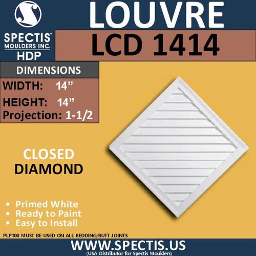 LCD1414 Diamond Gable Louver Vent - Closed - 14 x 14