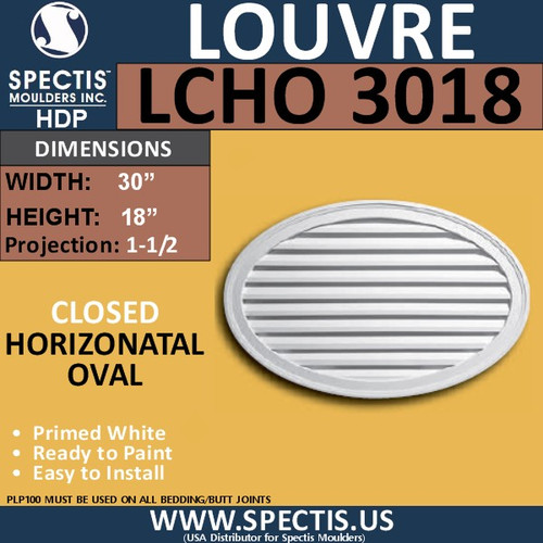 LCHO3018 Horizontal Oval Louver Closed 30 x 18
