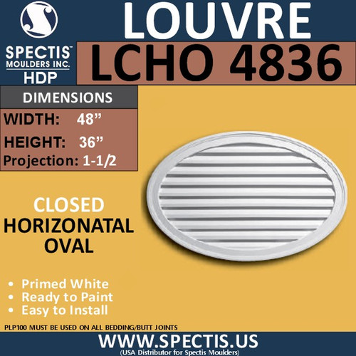 LCHO4836 Horizontal Oval Louver Closed 48 x 36
