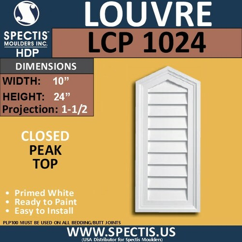 LCP1024 Peak Top Closed Louver 10 x 24