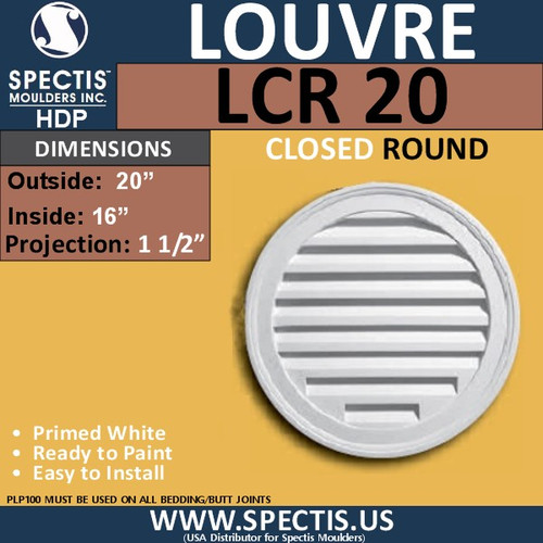 "LCR20 Round Gable Louver Vent - Closed - 20"" Diameter"