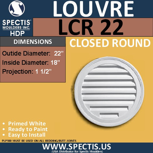 "LCR22 Round Gable Louver Vent - Closed - 22"" Diameter"