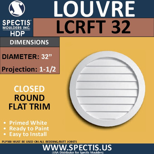 "LCRFT32 Round Flat Trim Closed Louver 32"" Diameter"