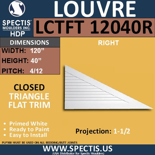 LCT12040R Triangle Gable Louver Vent - Closed - 120 x 40 Right