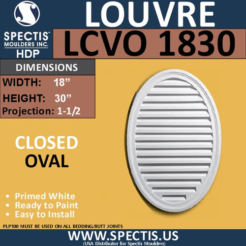 LCVO1830 Oval Gable Louver Vent - Closed - 18 x 30