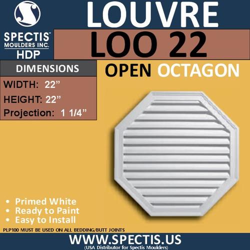 """LOO22 Octagon Gable Louver Vent - Open - 22"""""""