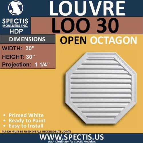 """LOO30 Octagon Gable Louver Vent - Open - 30"""""""