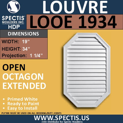 LOOE1934 Octagon Elongated Louver Open Vent 19 x 34