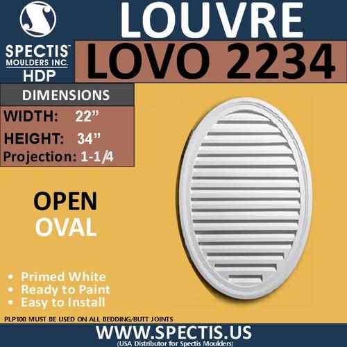 LOVO2234 Oval Open Louver Vent 22 x 34