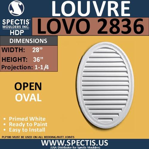 LOVO2836 Oval Open Louver Vent 28 x 36