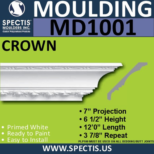 "MD1001 Crown Molding Trim 7""P x 6 1/2""H x 144""L"