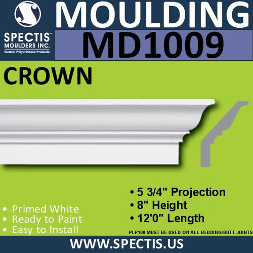 """MD1009 Crown Molding Trim 5 3/4""""P x 8""""H x 144""""L"""