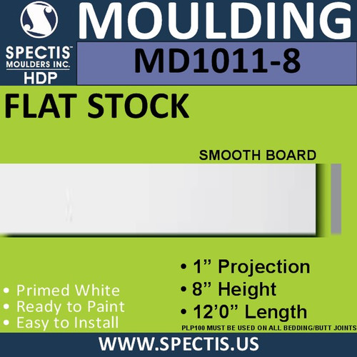 """MD1011-8 Spectis 1"""" Flat Trim 1""""P x 8""""H x 144""""L"""