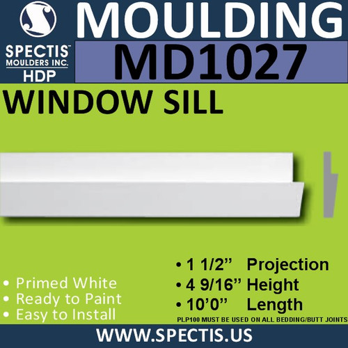 """MD1027 Spectis Window Sill Trim 1 1/2""""P x 4 9/16""""H x 120""""L"""