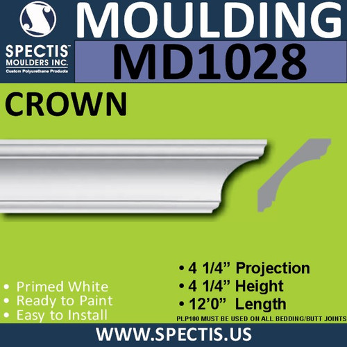 "MD1028 Spectis Crown Molding Trim 4 1/4""P x 4 1/4""H x 144""L"