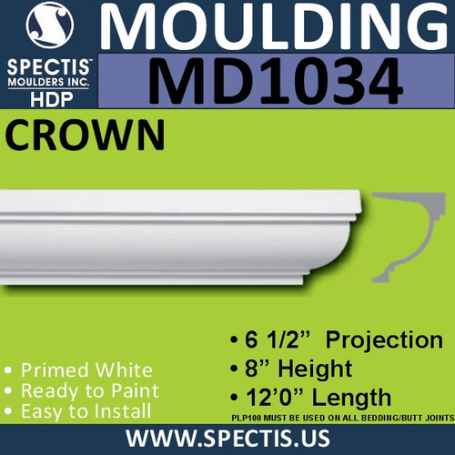 "MD1034 Spectis Crown Molding Trim 6 1/2""P x 8""H x 144""L"