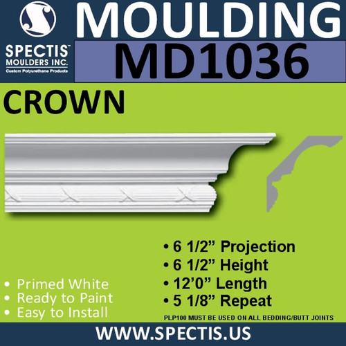 "MD1036 Spectis Crown Molding Trim 6 1/2""P x 6 1/2""H x 144""L"