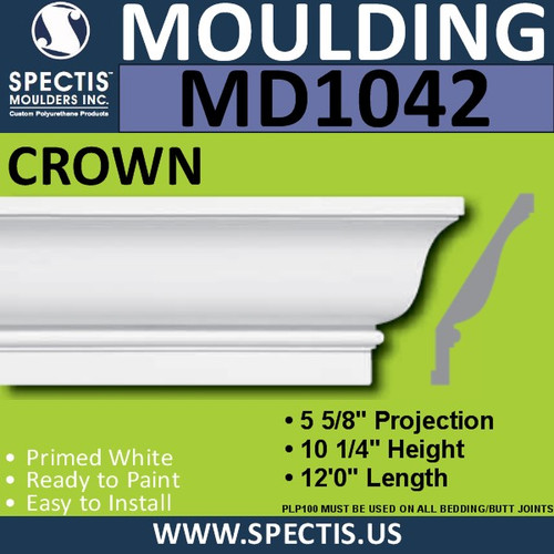 "MD1042 Spectis Crown Molding Trim 5 3/8""P x 10 1/4""H x 144""L"